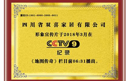 CCTV9形象展播证书