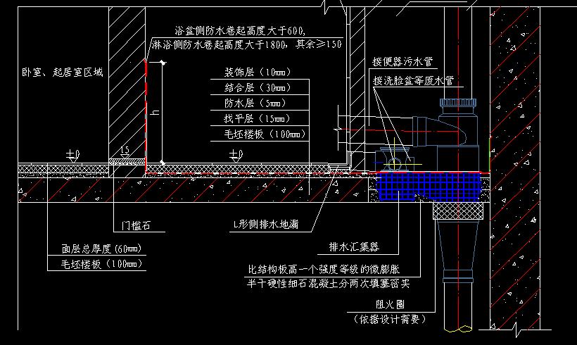 不降板同層排水建築構造大樣圖