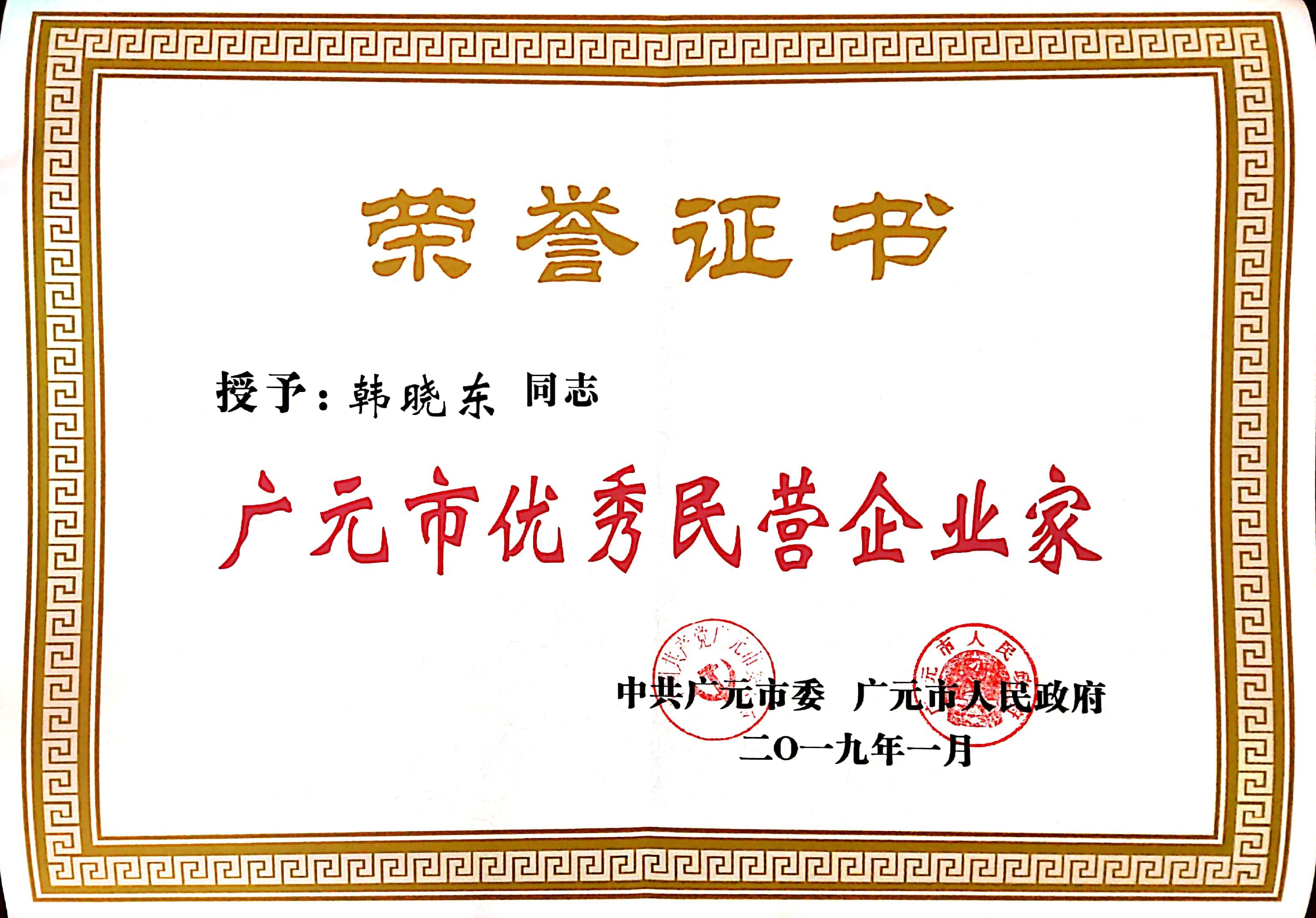 """董事长韩晓东被授予""""优秀民营企业家""""荣誉称号"""