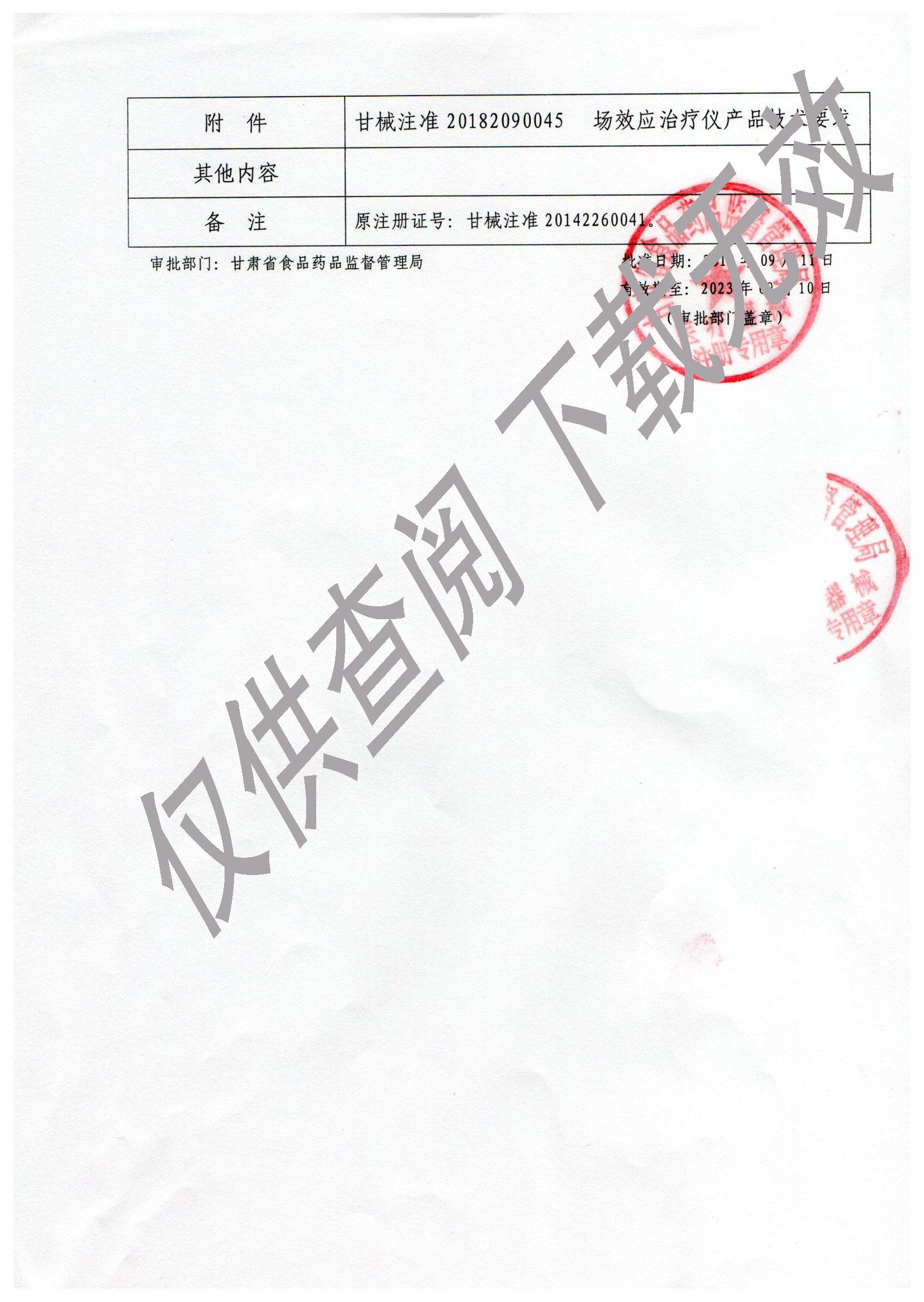 场效应治疗仪注册证2
