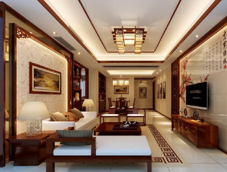 中式三居室客厅背景墙装修图片