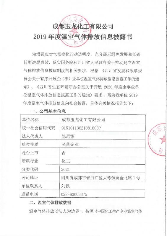成都玉龙化工有限公司2019年度温室气体排放信息披露书